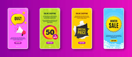Sale 50 percent off badge. Phone screen banner. Discount banner shape. Coupon star icon. Sale banner on smartphone screen. Mobile phone web template. Sale 50% promotion. Vector Vetores