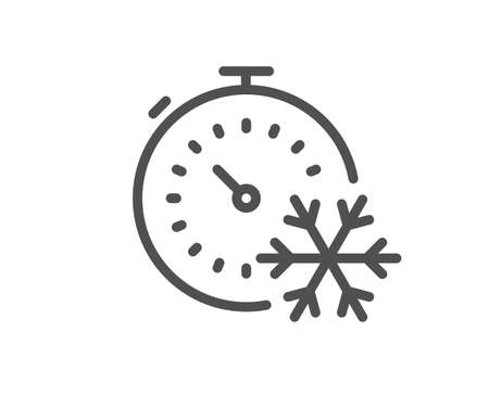 Freezing timer line icon. AC cold temperature sign. Fridge function symbol. Quality design element. Editable stroke. Linear style freezing timer icon. Vector Vecteurs