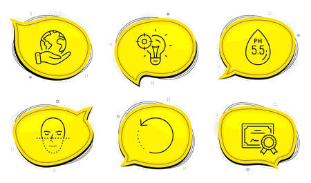 Recovery data sign. Diploma certificate, save planet chat bubbles. Seo idea, Ph neutral and Face recognition line icons set. Performance, Water, Faces biometrics. Backup info. Science set. Vector Stock Illustratie