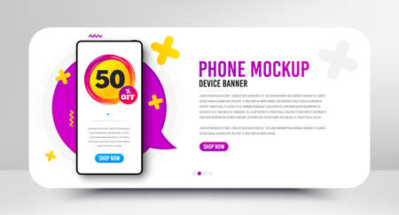 Sale 50 percent off badge. Phone screen mockup banner. Discount banner shape. Coupon star icon. Social media banner with smartphone screen. Shopping mockup web template. Sale 50% promotion. Vector Vetores