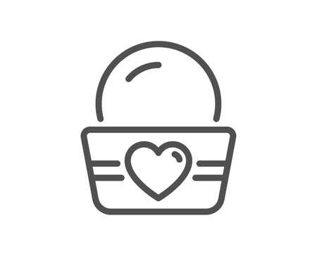 Ice cream cup line icon. Vanilla sundae sign. Frozen summer dessert symbol. Quality design element. Editable stroke. Linear style ice cream icon. Vector