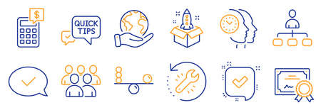 Set of Education icons, such as Startup, Time management. Certificate, save planet. Confirmed, Balance, Approved message. Group, Management, Calculator. Quick tips, Recovery tool line icons. Vector 矢量图片