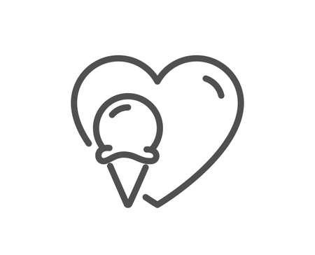 Ice cream love line icon. Vanilla sundae cone sign. Frozen summer dessert symbol. Quality design element. Editable stroke. Linear style ice cream icon. Vector