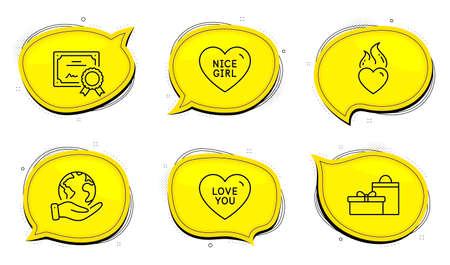 Gifts sign. Diploma certificate, save planet chat bubbles. Nice girl, Love you and Heart flame line icons set. Love heart, Sweetheart, Birthday boxes. Holidays set. Outline icons set. Vector