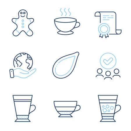 Frappe, Coffee cup and Americano line icons set. Diploma certificate, save planet, group of people. Pumpkin seed, Latte and Gingerbread man signs. Cold drink, Hot drink, Beverage cup. Vector Vectores