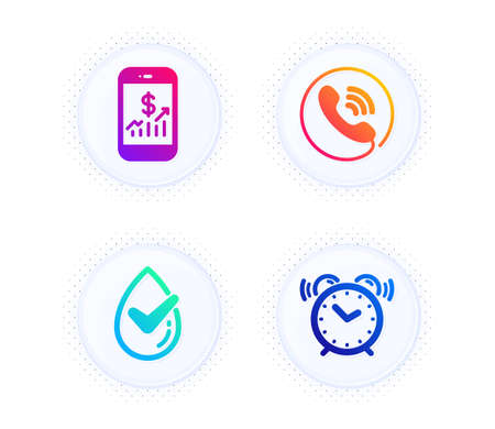 Mobile finance, Dermatologically tested and Call center icons simple set. Button with halftone dots. Alarm clock sign. Phone accounting, Organic, Phone support. Time. Technology set. Vector