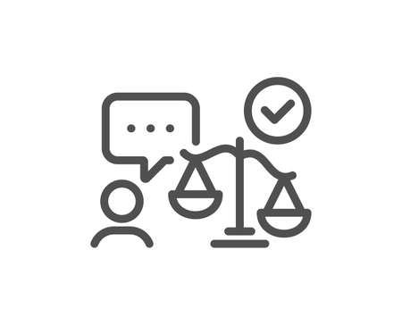 Lawyer line icon. Court judge sign. Justice scale symbol. Quality design element. Editable stroke. Linear style lawyer icon. Vector