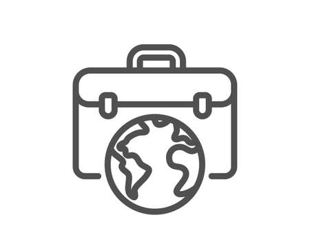 Global business line icon. Businessman case sign. Internet marketing symbol. Quality design element. Editable stroke. Linear style businessman case icon. Vector Illustration