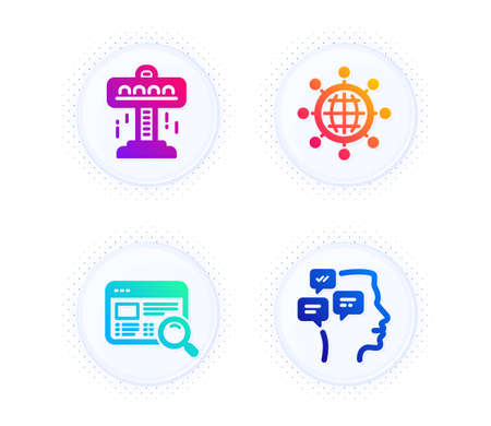 Website search, Attraction and International globe icons simple set. Button with halftone dots. Messages sign. Find internet, Free fall, World networking. Notifications. Technology set. Vector
