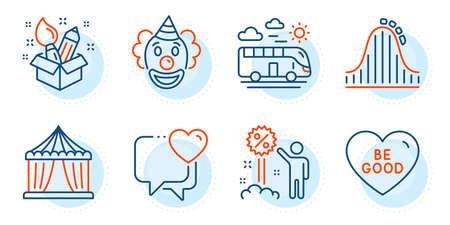 Bus travel, Be good and Roller coaster signs. Creativity, Circus tent and Heart line icons set. Clown, Discount symbols. Design idea, Attraction park. Holidays set. Outline icons set. Vector