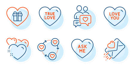 Ask me, Romantic gift and Heart signs. Love you, Dating chat and Love letter line icons set. Friends community symbol. Sweetheart, Heart. Love set. Outline icons set. Ð¡ircle with dashed line. Vector