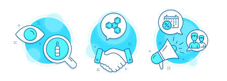 Chemical formula, Couple and Brandy bottle line icons set. Handshake deal, research and promotion complex icons. Calendar discounts sign. Chemistry, Two male users, Whiskey. Shopping. Vector Stock Illustratie