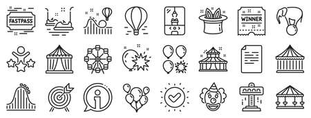 Set of Carousel, Roller coaster and Circus icons. Amusement park line icons. Air balloon, Crane claw machine and Fastpass symbols. Circus amusement park tickets. Ferris wheel carousel. Vector