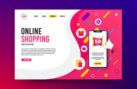 Landing page with phone mockup. Sale 50% off badge. Discount banner shape. Coupon bubble icon. Website template banner with smartphone screen. Shopping mockup web page template. Vector Vetores