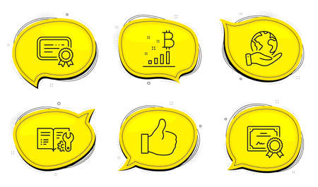 Bitcoin graph sign. Diploma certificate, save planet chat bubbles. Certificate, Engineering documentation and Like line icons set. Verified document, Manual, Thumbs up. Vector