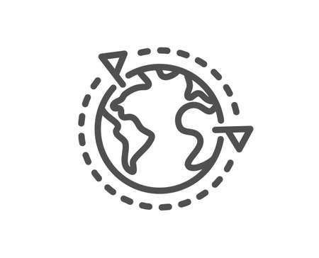Global business with flags line icon. International outsourcing sign. Internet marketing symbol. Quality design element. Editable stroke. Linear style outsourcing icon. Vector