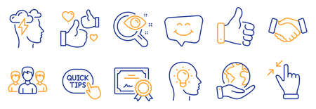 Set of People icons, such as Smile chat, Like hand. Certificate, save planet. Idea head, Quick tips, Touchscreen gesture. Group, Mindfulness stress, Vision test. Like, Handshake line icons. Vector