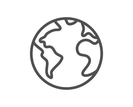 World planet line icon. Web internet sign. Global marketing symbol. Quality design element. Editable stroke. Linear style world planet icon. Vector Illustration