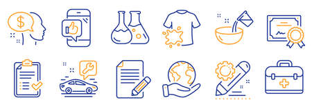Set of Business icons, such as Dirty t-shirt, Cooking water. Certificate, save planet. Car service, Article, Approved checklist. Chemistry lab, Mobile like, Project edit. Vector