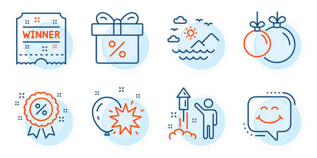 Christmas ball, Fireworks and Discount offer signs. Balloon dart, Winner ticket and Sea mountains line icons set. Smile chat, Discount symbols. Attraction park, Carousels award. Holidays set. Vector Vectores