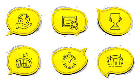 Timer sign. Diploma certificate, save planet chat bubbles. Arena, Award cup and Arena stadium line icons set. Sport stadium, Trophy, Sport complex. Stopwatch gadget. Sports set. Vector