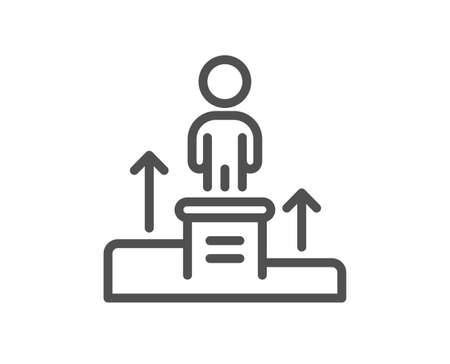 Business podium line icon. Employee nomination sign. Person award symbol. Quality design element. Editable stroke. Linear style business podium icon. Vector Vetores
