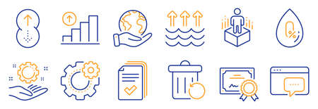 Set of Science icons, such as No alcohol, Augmented reality. Certificate, save planet. Graph chart, Employee hand, Swipe up. Evaporation, Handout, Cogwheel. Vector