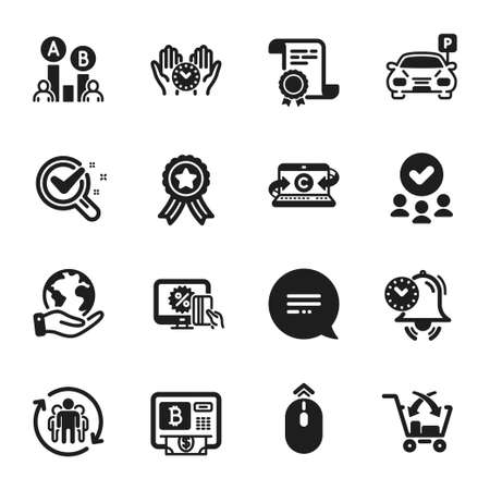 Set of Business icons, such as Safe time, Text message. Certificate, approved group, save planet. Time management, Online shopping, Parking. Bitcoin atm, Cross sell, Chemistry lab. Vector