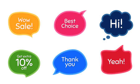 Wow sale, 10% discount and best choice. Colorful chat bubbles. Thank you phrase. Sale shopping text. Chat messages with phrases. Texting thought bubbles. Vector