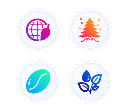 Environment day, Christmas tree and Coffee beans icons simple set. Button with halftone dots. Plants watering sign. Safe world, Spruce, Vegetarian seed. Water drop. Nature set. Vector