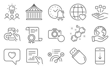 Set of Technology icons, such as Usb stick, Scroll down. Diploma, ideas, save planet. Share call, Consolidation, Alarm bell. Carousels, Love message, Correct answer. Vector