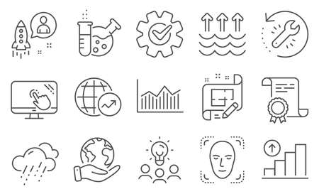 Set of Science icons, such as Recovery tool, Face detection. Diploma, ideas, save planet. Startup, Money diagram, Rainy weather. Chemistry lab, Cogwheel, Touch screen. Vector
