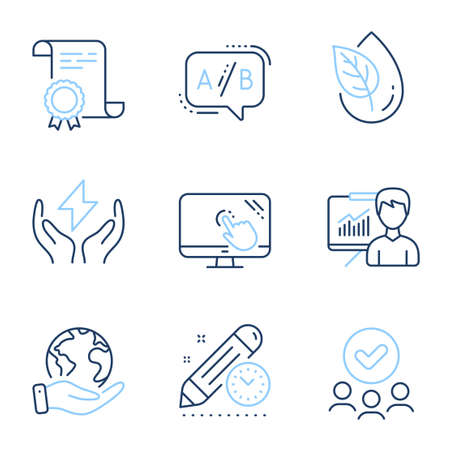 Safe energy, Touch screen and Ab testing line icons set. Diploma certificate, save planet, group of people. Presentation, Organic product and Project deadline signs. Vector Иллюстрация