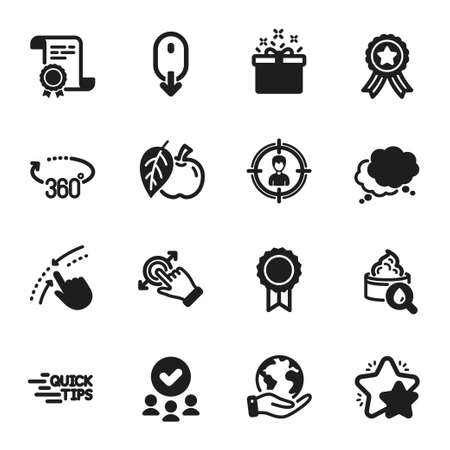 Set of Business icons, such as Education, Moisturizing cream. Certificate, approved group, save planet. Headhunting, Star, Scroll down. Reward, Special offer, Apple. Vector