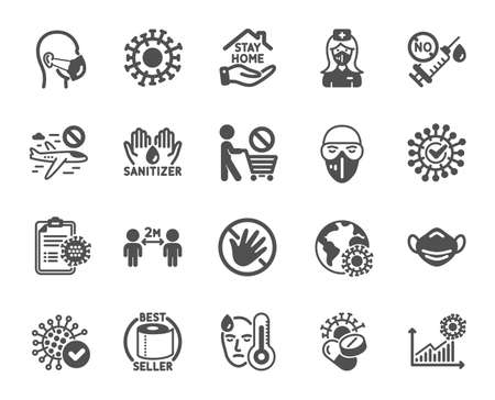 Coronavirus icons. Medical mask, washing hands hygiene, protective glasses. Stay home, hands sanitizer, coronavirus epidemic mask icons. Covid-19 virus pandemic, no vaccine, toilet paper. Vector Vetores