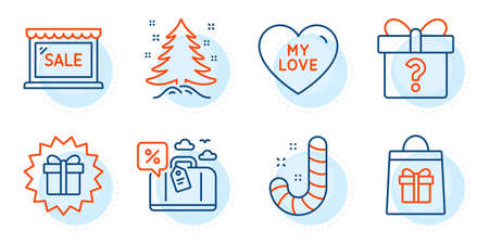 My love, Candy and Secret gift signs. Christmas tree, Surprise gift and Sale line icons set. Travel loan, Holidays shopping symbols. Spruce, Shopping offer. Holidays set. Outline icons set. Vector Vectores