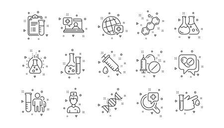 Drug testing, scientific discovery and disease prevention icons. Medical healthcare, doctor line icons. Chemical formula, chemistry testing lab. Linear set. Geometric elements. Vector Ilustración de vector