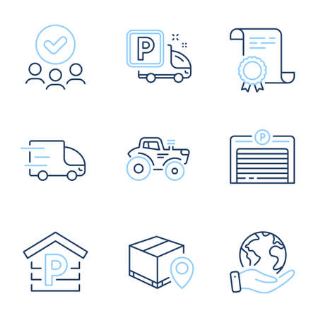Truck parking, Parking and Tractor line icons set. Diploma certificate, save planet, group of people. Parcel tracking, Truck delivery signs. Free park, Garage, Automatic door. Farm transport. Vector Иллюстрация