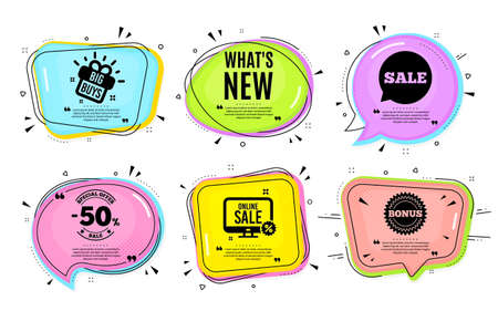 Whats new symbol. Big buys, online shopping. Special offer sign. New arrivals symbol. Quotation bubble. Banner badge, texting quote boxes. Whats new text. Coupon offer. Vector