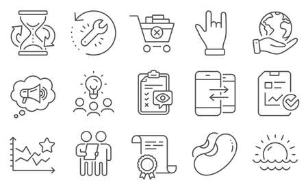 Set of Business icons, such as Hourglass, Megaphone. Diploma, ideas, save planet. Ranking stars, Eye checklist, Phone communication. Beans, Remove purchase, Survey. Vector