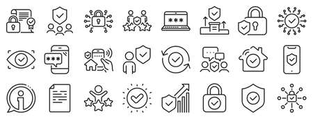 Cyber lock, password, unlock. Security line icons. Guard, shield, home security system icons. Eye access, electronic check, firewall. Internet protection, laptop password. Vector