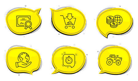 Shopping sign. Diploma certificate, save planet chat bubbles. Tractor, Timer and World money line icons set. Farm transport, Time management, Global markets. Add to cart. Business set. Vector
