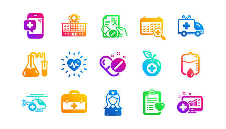Hospital assistance, Health food diet and Laboratory. Medical icons. Chemistry classic icon set. Gradient patterns. Quality signs set. Vector