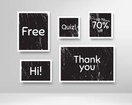 Quiz, 70% discount and free. Black photo frames with scratches. Thank you phrase. Sale shopping text. Grunge photo frames. Images on wall, retro memory album. Realistic photograph card. Vector