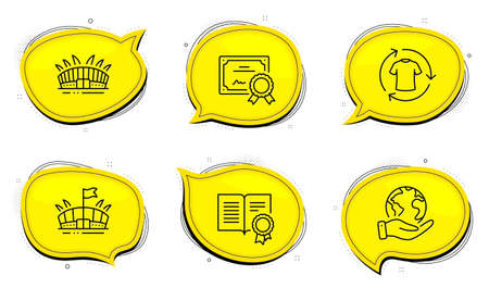 Change clothes sign. Diploma certificate, save planet chat bubbles. Diploma, Arena stadium and Arena line icons set. Document with badge, Sport complex, Sport stadium. Shirt. Sports set. Vector Illustration