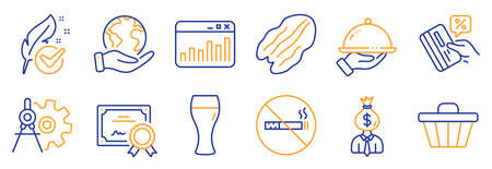 Set of Business icons, such as Pecan nut, Shop cart. Certificate, save planet. Credit card, Cogwheel dividers, Manager. Restaurant food, Marketing statistics, No smoking. Vector