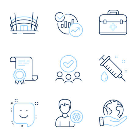 Support, Medical syringe and Smile line icons set. Diploma certificate, save planet, group of people. Statistics, Arena stadium and First aid signs. Vector