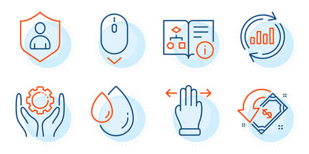 Update data, Employee hand and Oil drop signs. Cashback, Multitasking gesture and Technical algorithm line icons set. Scroll down, Security symbols. Receive money, Swipe. Business set. Vector Ilustração