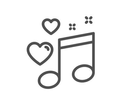 Love music line icon. Romantic musical note sign. Couple relationships symbol. Quality design element. Editable stroke. Linear style love music icon. Vector