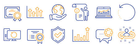 Set of Education icons, such as Confirmed, Manual doc. Certificate, save planet. Recovery computer, Recovery data, Efficacy. Recruitment, Employees messenger, Certificate. Vector Vettoriali